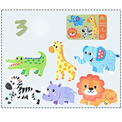 Adeeing 6 in 1 Kids Baby Cartoon Animal Pattern Puzzles Early Education Wood Toy