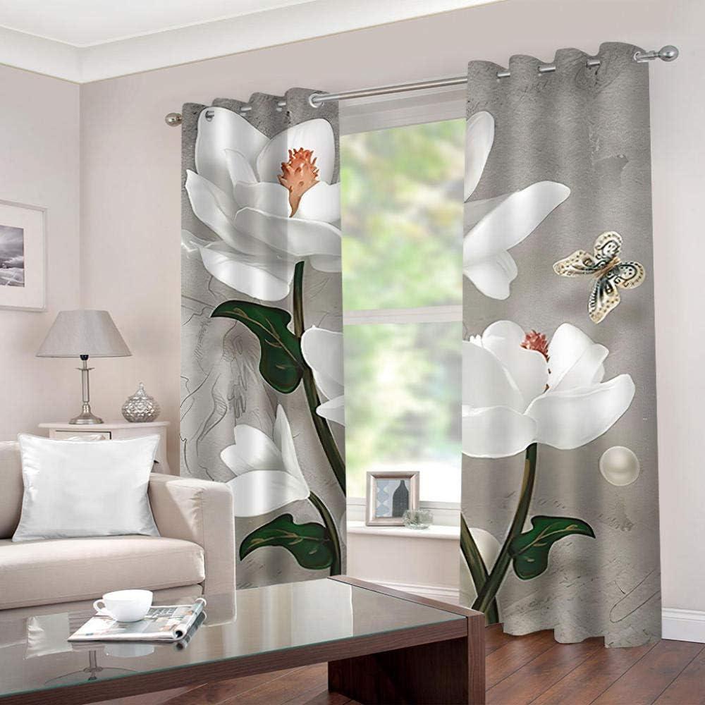 shkdif 3D Verdunkelungsvorhang Sch/öne Blume,Antibakterielles Gewebe Aus 100/% Polyester Geeignet F/ür Wohnzimmer Schlafzimmer Badezimmer 150Wx166H cm
