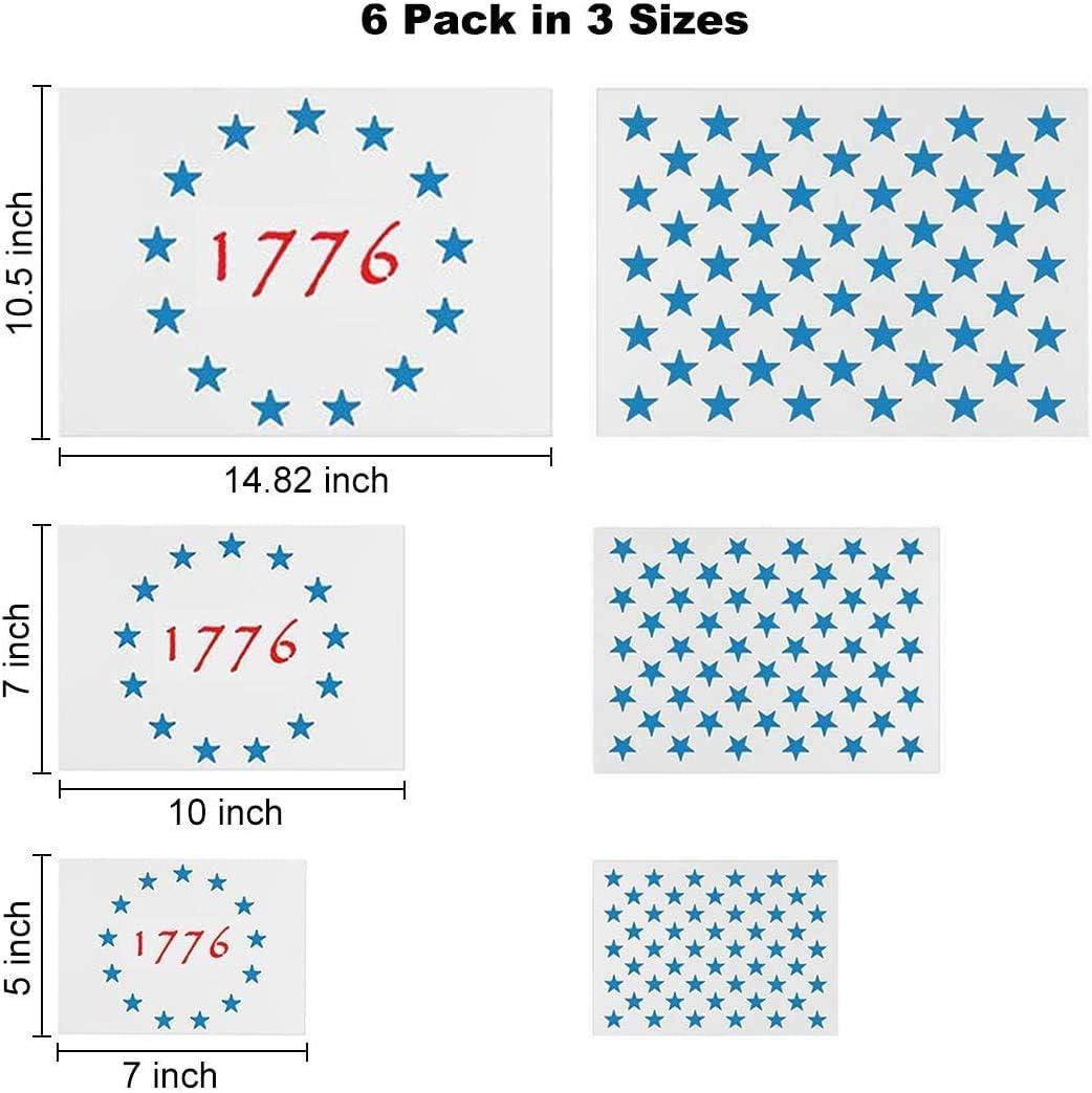 American Flag Star Stencil Templates 6 Pack 50 Stars 1776 13 Stars Flag Stencils