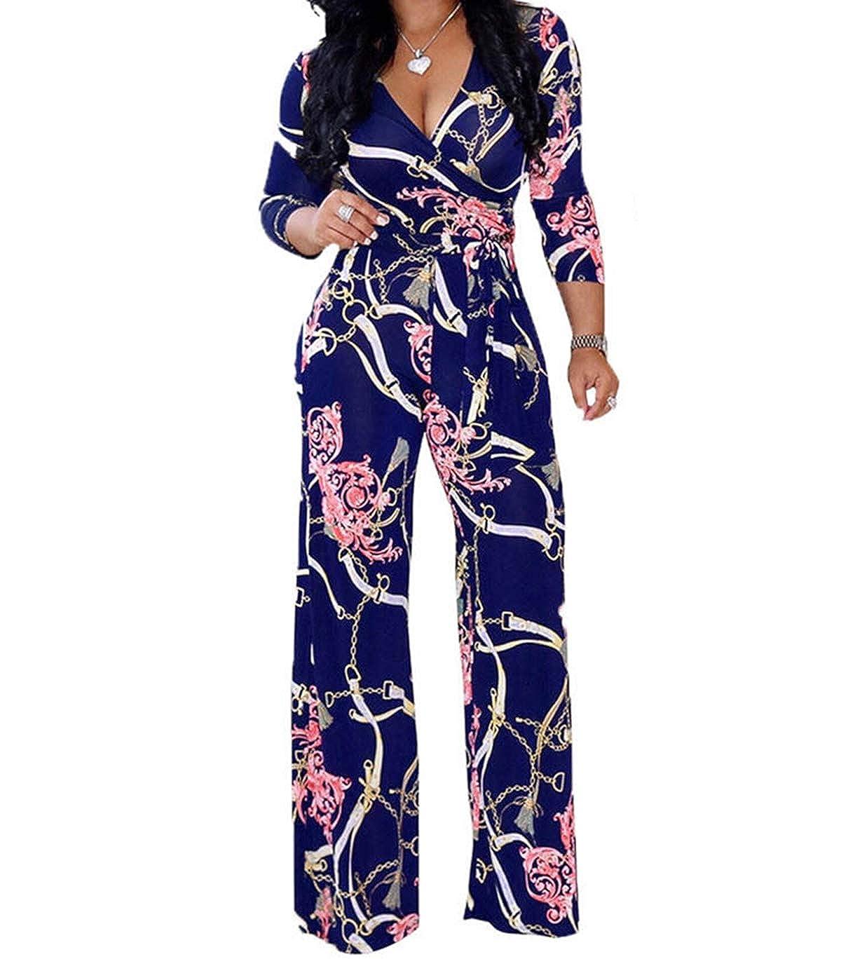 Harri me Womens Jumpsuits Long Sleeve Floral Print Wide Leg Pants Jumpsuit