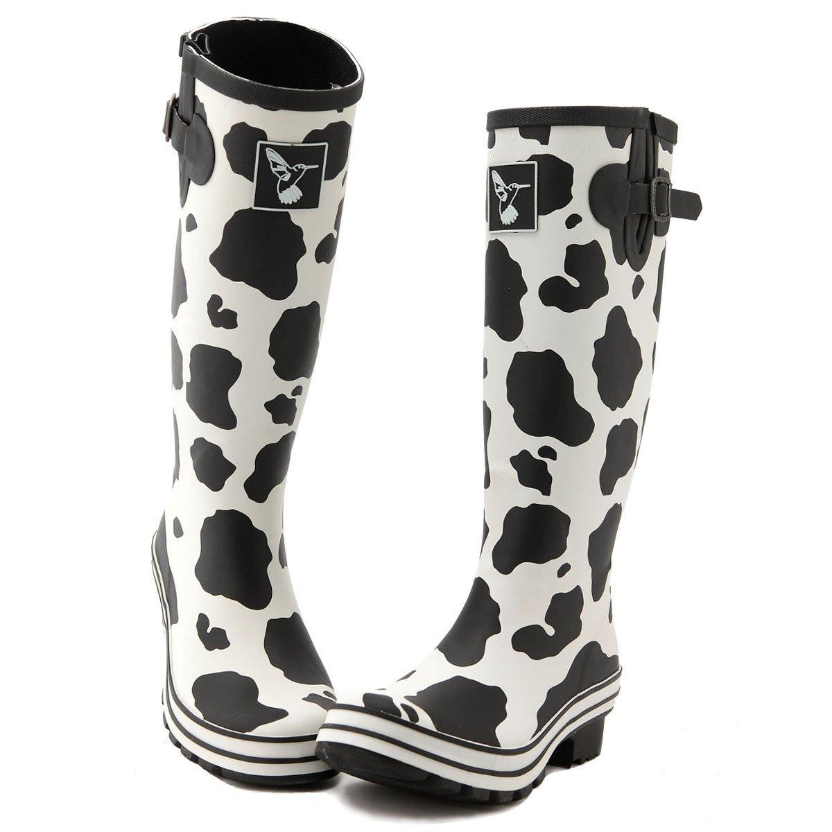 Evercreatures Women's Rain Boots UK Brand Original Tall Rain Boot Gumboots Wellies B008DSC8VK 10 B(M) US / UK8 / EU41|Off-white Print
