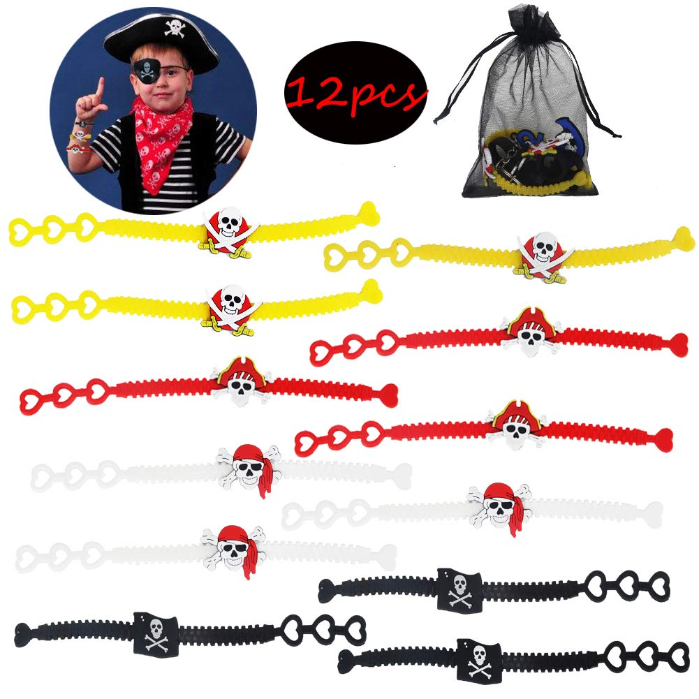 Pirate Party Favor Kit,Pirate Key Chain Rings Bracelets Tattoos Pirate Captain Eye Patches Pirate Treasure Organza Gift Bag for Kids Birthday Bag Filler Toys Gift for Boys 84 PCS
