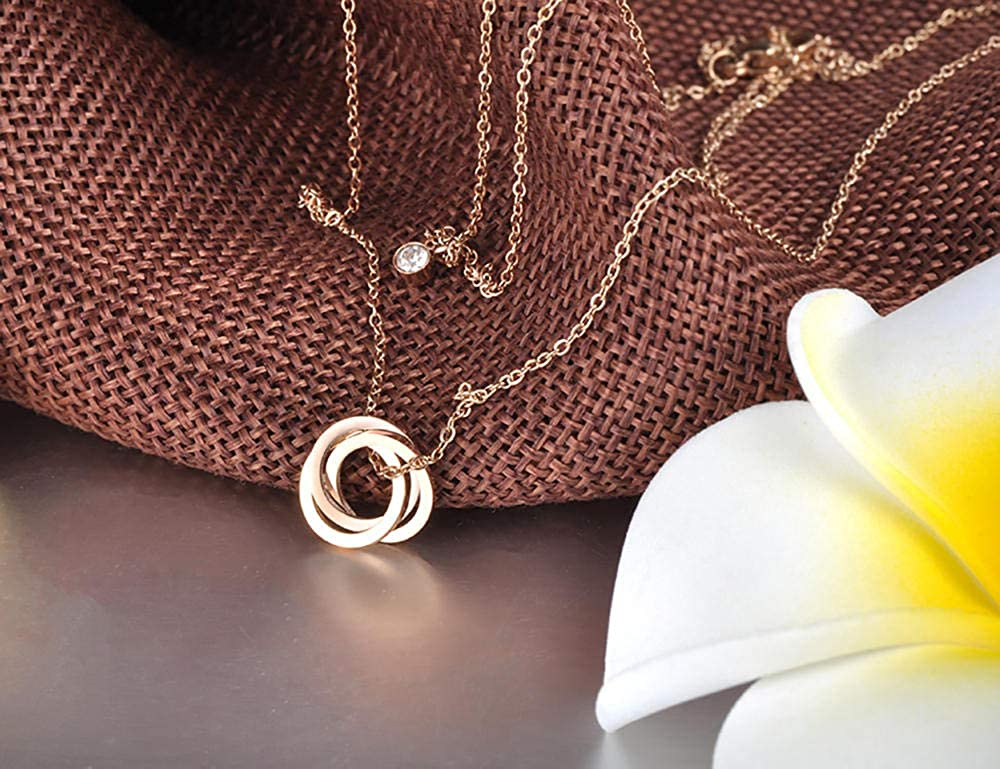 smydp Necklaces Double Layers Stainless Steel Choker Necklace Twist Laps Crystal Pendant Rose Gold Color Chain Fashion Gift