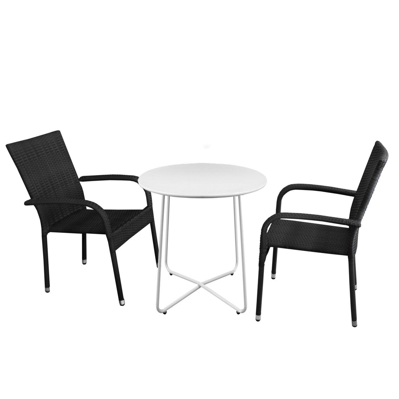Bistromöbel Set Bistrotisch, Metall, Ø60cm, Weiß + 2x Polyrattan  Gartensessel