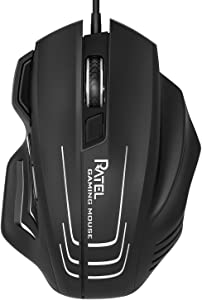 Computer Mouse Wired, RATEL Ergonomic USB Optical Mouse Mice with Chroma RGB Backlit and 8 Programmable Buttons,250 to 7500 DPI for Office Work and Gaming