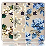 CarterLily iPhone 6 6S Case with Flowers, [3-Pack] Watercolor Flowers Floral Pattern Soft Clear Flexible TPU Back Case for iPhone 6 6S 4.7'' - Blue Flowers
