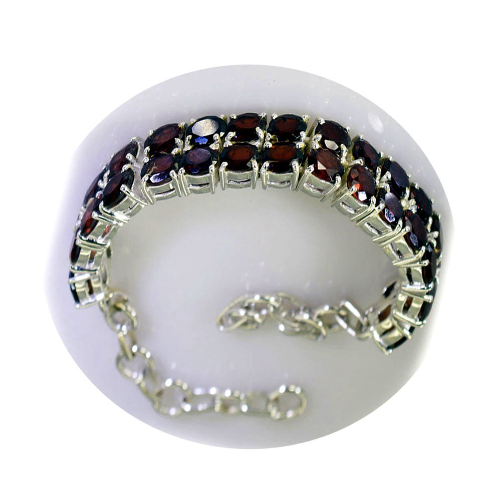 Jewelryonclick Natural Garnet Silver Handmade Bracelet For Gift January birthstone Tennis Style Astrological L 6.5-8 Inch