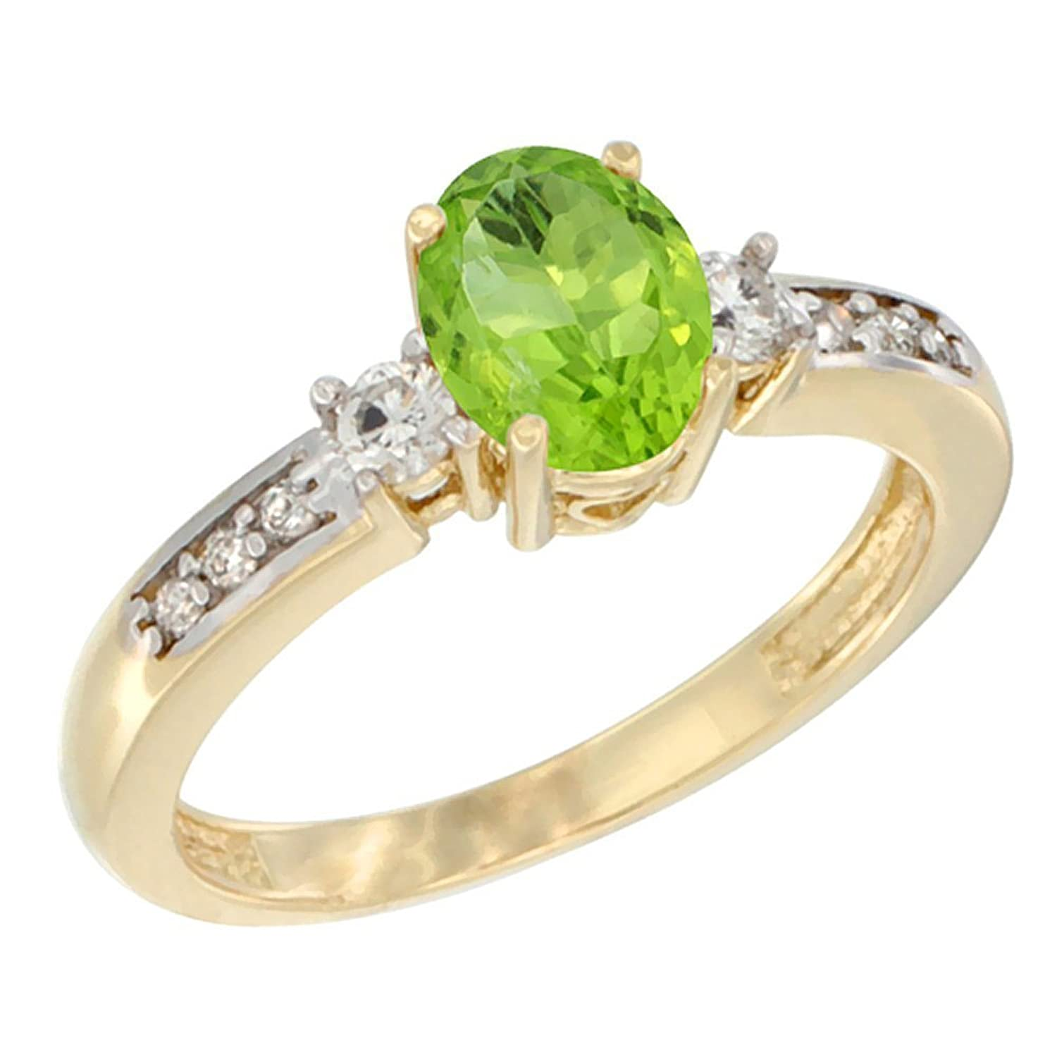 10K White Gold Diamond Natural Peridot Engagement Ring Oval 7×5 mm, sizes 5 – 10