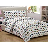 Mk Collection Kids 4 pc Sheet Set Full Size Teens boys Blue Red Yellow Trucks Tractors Cars New Full, Sheet Set