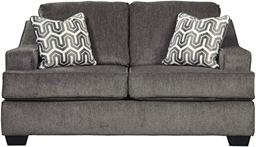 Signature Design by Ashley – Gilmer Contemporary Chenille Upholstered Loveseat w Accent Pillows, Gunmetal