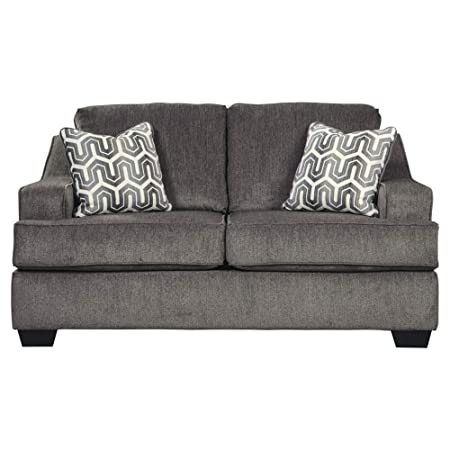 Ashley Furniture Signature Design – Gilmer Chenille Upholstered Loveseat w Accent Pillows – Contemporary – Gunmetal