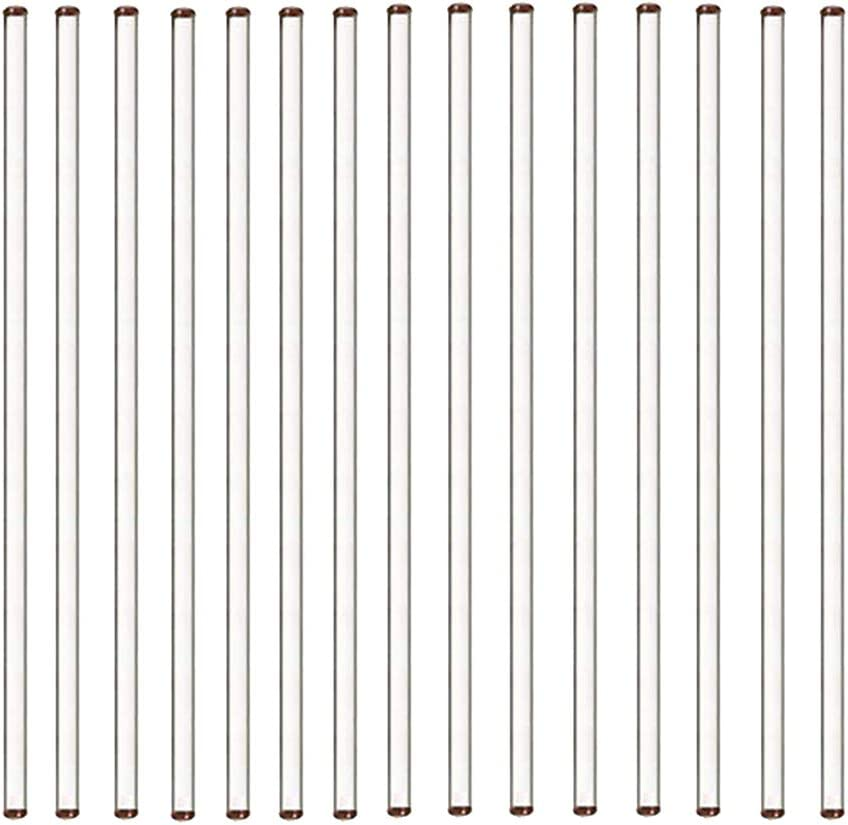 15PCS Glass Stir Sticks with Both Ends Round 12inch Long 0.25inch Diameter for Lab, Kitchen and Stir Hot Cold Beverages Cocktails Drinks Mixtures
