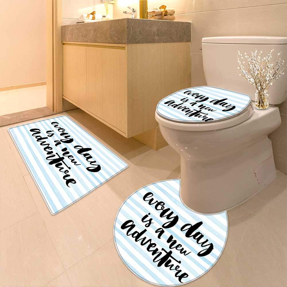 Non Slip Bathroom Rugs Every Day is a New Adventure Calligraphy Text Watercolor Stripes Print Light Blue Absorbent Cover