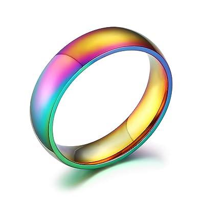 UM Joyería Gay Lesbiana Homosexual Orgullo Acero inoxidable Arco iris Anillos 6mm