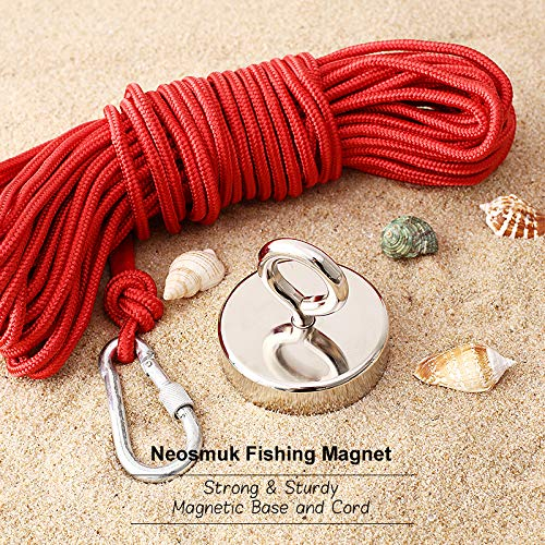 Silvery White, Pack of 1 Neosmuk Fishing Magnet Kit 800LBS 3 Inches Neo-Magnet with Lifting Eye-Bolt and Non-Slip Rubber Gloves Ideal for Retrieving Items in Lake,Beach,Lawn and New House