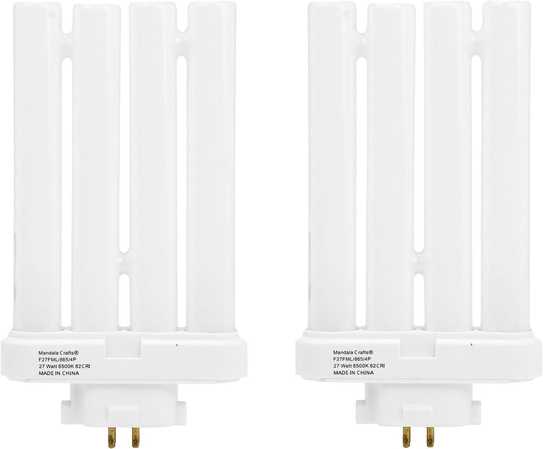 FML27 27-Watt 6500 K Compact Fluorescent Light Bulb with Quad Tubes, 4-pin, GX10q-4 Base; 2 Pack; by Mandala Crafts