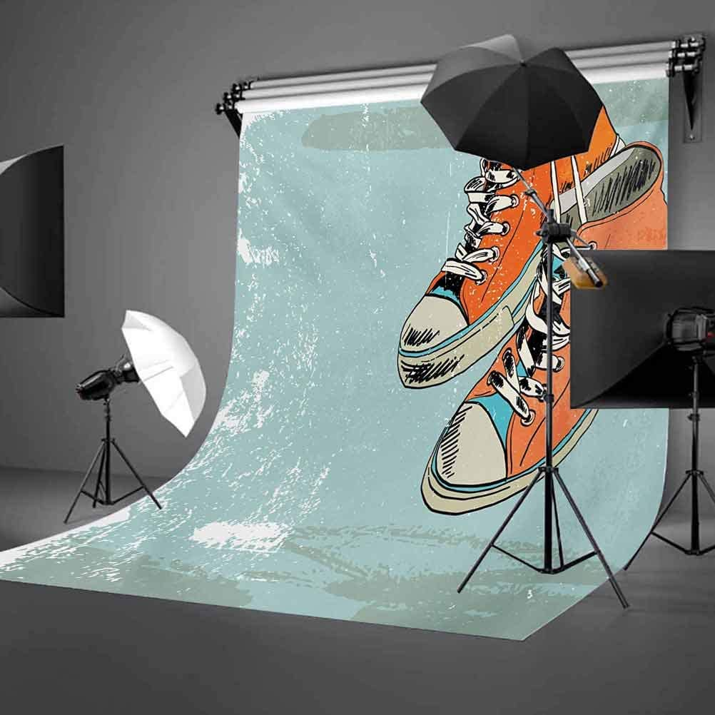 Modern 6x8 FT Photo Backdrops,Old Fashioned Punk Sports Shoes with Murky Grunge Effects Youth Graphic Art Background for Photography Kids Adult Photo Booth Video Shoot Vinyl Studio Props