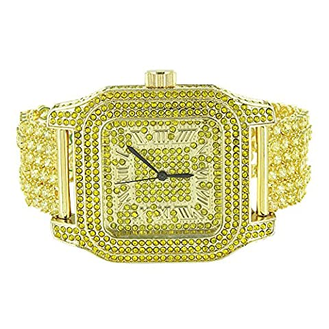 Canary Lab Diamond Watch Square Face Joe Rodeo Jojo Fully Iced Out Hip Hop Rapper Gold Tone (Iced Out Square Watch)