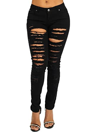 Sexy Black Ripped Destroyed Distressed Mid Rise Skinny Jeans at