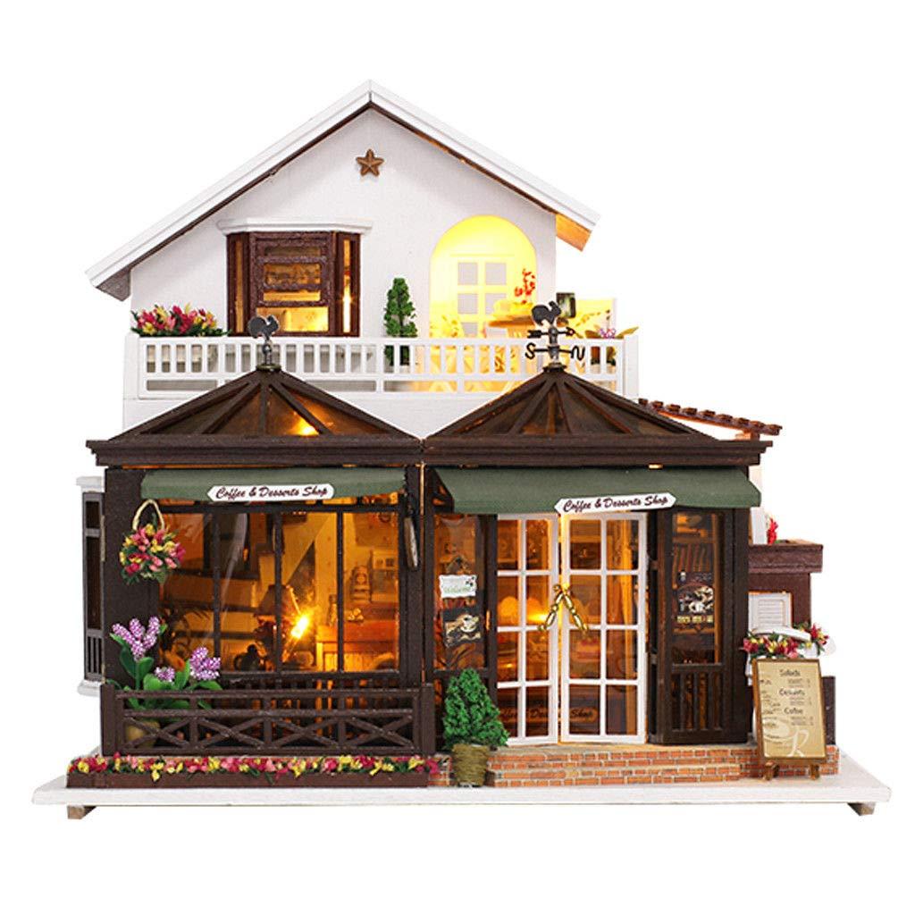 【おトク】 DIY DIY 木製ドールハウス ミニチュア家具キット LED+オルゴール LED+オルゴール 誕生日ギフト キッズ 誕生日ギフト B07MPKKHQ8, 今季一番:a226f51c --- arcego.dominiotemporario.com
