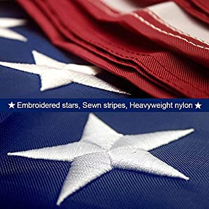 American Flag 3x5 ft –Heavyweight Oxford Nylon Built for Outdoor Use, UV Protected and Featuring Embroider Stars and Sewn Stripes and Brass Grommets.