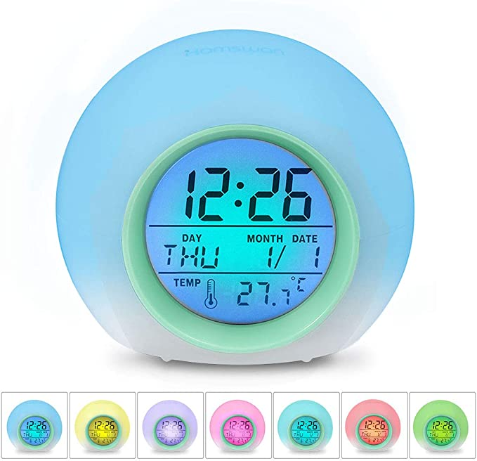 HAMSWAN Kids Alarm Clocks, Digital Wake Up Light Alarm Clock, Sleep Trainer, 7 Colors Changing with Indoor Temperature Snooze Date Display, 8