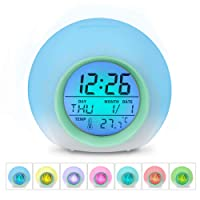Alarm Clocks, HAMSWAN Digital Alarm Clock 7 Colors Changing Nature Sounds One Tap Control Sleep-Friendly with Indoor Temperature Display for Kids, Children, Working Parents, Students etc (Green)
