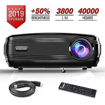 Proyector de vídeo, 3800LM HD proyector de película 200 Pulgadas ...