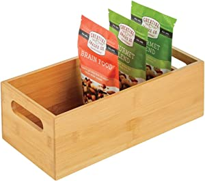 mDesign Bamboo Kitchen Cabinet & Fridge Drawer Organizer Tray - Storage Bin for Cutlery, Serving Spoons, Cooking Utensils, Gadgets - Natural Wood Finish