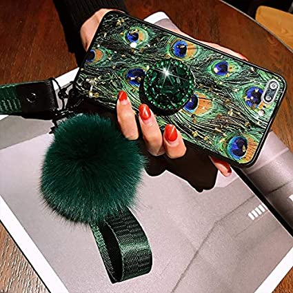 Size : For iphone 6 6s LIXXEZ Green Peacock Feather Epoxy Lanyard Hair Ball Diamond Bracket Cover Case For Iphone MAX XS XR 6 7 8 Plus X Phone Cases
