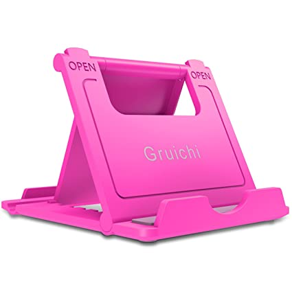 Gruichi Cell Phone Stand, Multi-Angle Foldable Desktop Holder for Smartphones, Tablets (