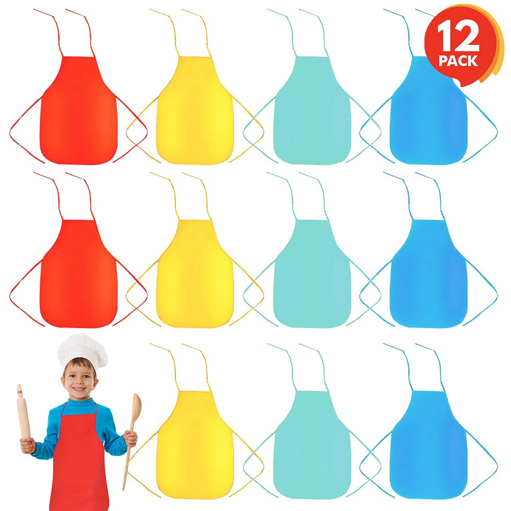 ArtCreativity Child-Size Apron Assortment (Set of 12) | Supplies for Arts and Crafts, Cooking, Painting, Baking, Dress Up, Paint Party | Fun Assorted Colors Children's Aprons