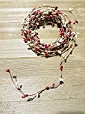 Red And Ivory Pip Berry Single Ply Garland 18' Country Primitive Floral Craft Decor - 3 Strands of 6' Garland that Can Be Utilized Separately or Twisted together to Equal 18 Feet Of String Garland