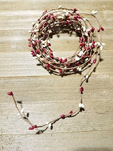 Red And Ivory Pip Berry Single Ply Garland 18' Country Primitive Floral Craft Decor - 3 Strands of 6' Garland that Can Be Utilized Separately or Twisted together to Equal 18 Feet Of String Garland ()