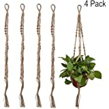 Peicees 4 Pack Plant Hanger Macrame Jute 4 Legs 35.5 Inches for Indoor Outdoor Balcony Pots Stand