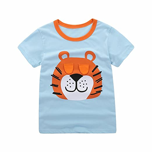 Motteecity Trendy Boys Clothes Adorable Cartoon Soft Animal Graphic Print  Embroider Casual T-Shirt Blue 73a4d64b5c
