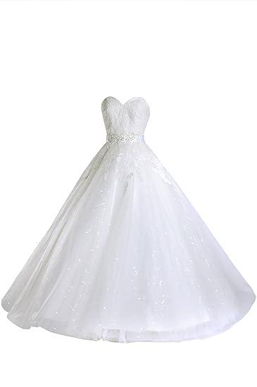 Wedding Dresses A Line Lace Strapless Simple Casual Princess Bridal