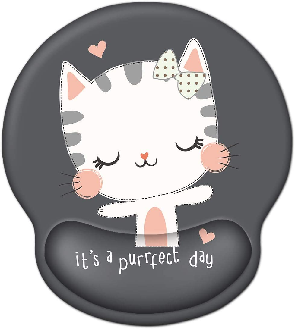 Mouse Pad with Wrist Rest Support, ToLuLu Gel Mouse Pads with Non-Slip Rubber Base Memory Foam Mousepad, Ergonomic Mouse Wrist Rest Pad for Laptop Computer Home Office Working Pain Relief, Cute Cat