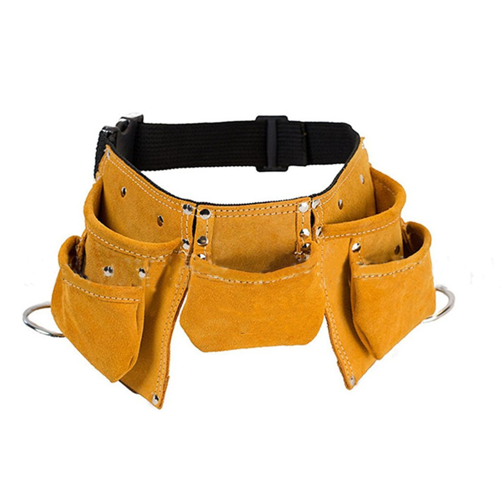 Cowhide Leather Multi-Purpose Kids Tool Belt Adjustable Children's Tool Pouch Candy Tote Apron for Costumes Dress Up Role Play (CYGJB38) (Yellow) Cheng Yi