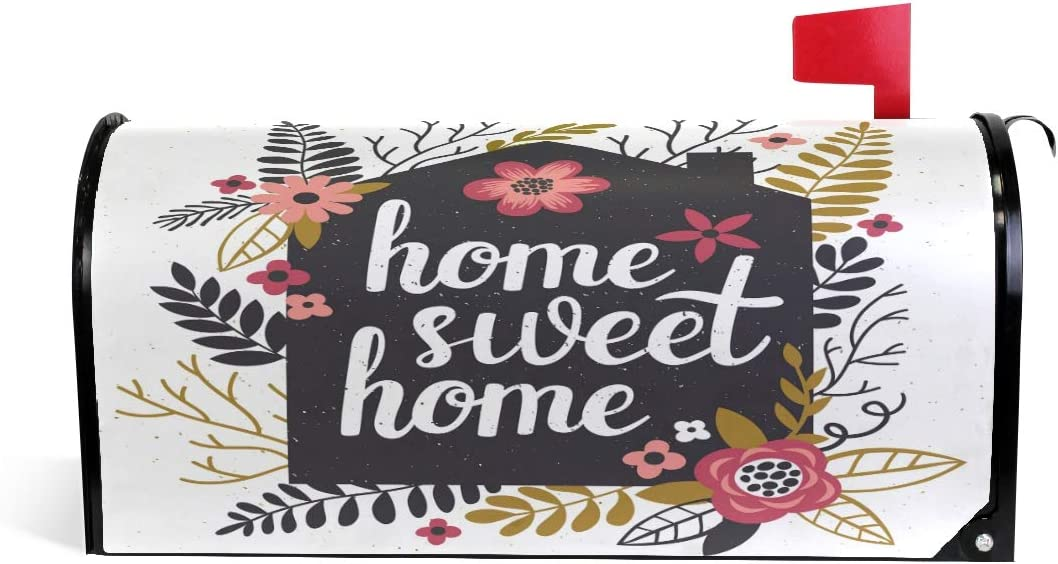 Wamika Home Sweet Welcome Magnetic Mailbox Post Box Cover Wraps Flower and Leaves Standard Size 20.8(L) x 18(W) Makover MailWrap Garden Home Decor