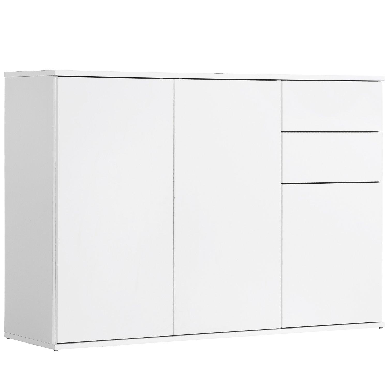 Qovi9 & 039;Die Elegante& 039; Kommode, Sideboard, Highboard, Anrichte, Schrank in Weiß mit Push-to-Open Funktion, 117x81x34 cm (B H T), Made IN Germany