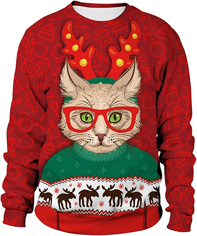 Unisex Ugly Christmas Sweatshirt Novelty Sweater Men Women 3D Print Funny Xmas Pullover