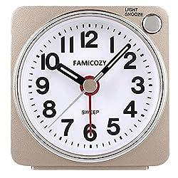 Small Lightweight Travel Alarm Clock,FAMICOZY Silent Non Ticking Analog Alarm Clock with Snooze and Light,Sound Crescendo,Mini Quartz Alarm Clock,Battery Operated(Gold)