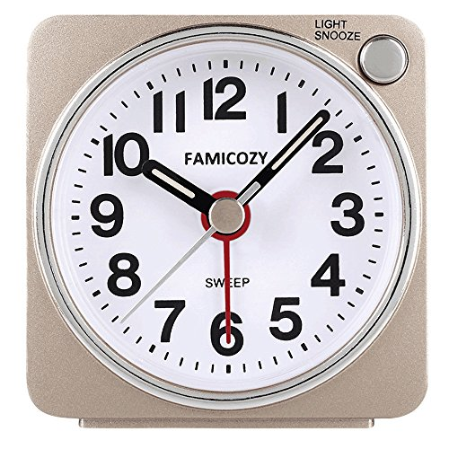 Small Lightweight Travel Alarm Clock,FAMICOZY Silent Non Ticking Analog Alarm Clock with Snooze and Light,Sound Crescendo,Mini Quartz Alarm Clock,Battery Operated(Gold) (Clock Mini Gold)