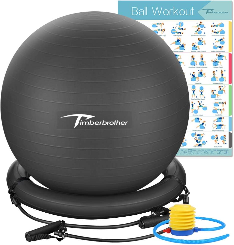 """Timberbrother Exercise Ball Chairs with Resistance Bands Workout Poster 16.5""""x 22.4"""",Stability Ball Base for Gym and Home Exercise"""