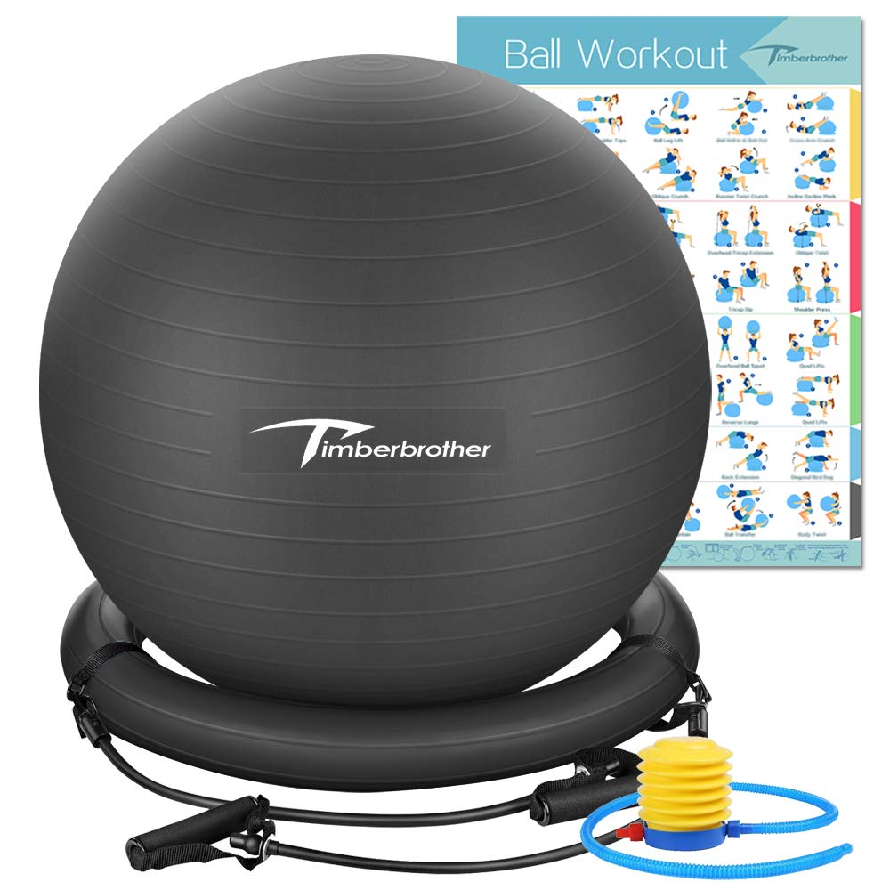 Timberbrother Anti-Burst Exercise Ball/Stability Ball 65cm Diameter with Resistance Bands & Pump for Yoga, Pilates, Fitness, Physical Therapy, Gym and Home Exercise (Black with Ring & Bands) by Timberbrother (Image #1)