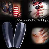 600pcs Coffin/Ballerina Shape False Nail Tips Full Cover Clear/Transparent for Gel Nail