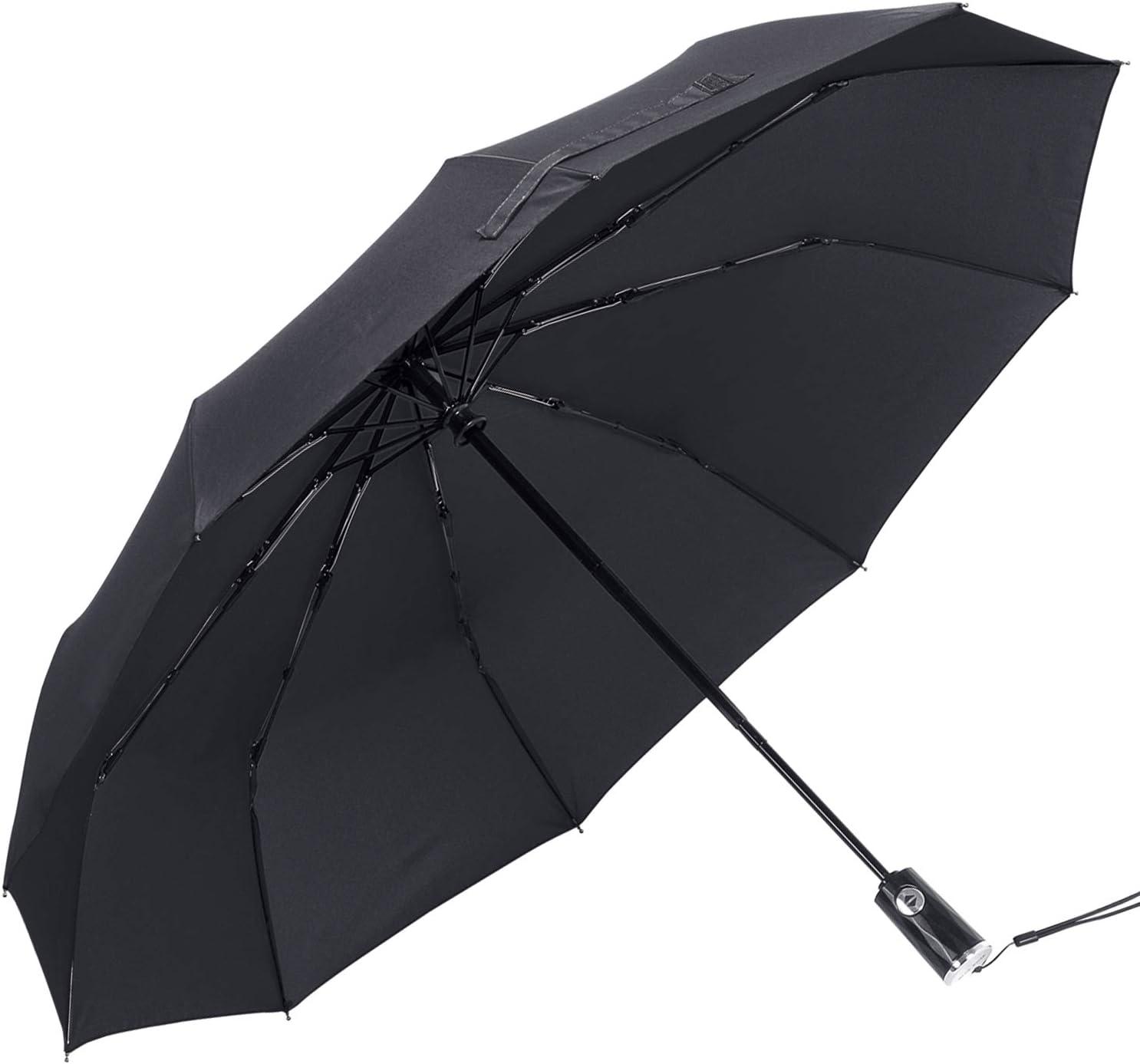BLUEROSE Compact Umbrella 10 Ribs Auto Open//Close Travel Umbrella Windproof Lightweight Umbrellas for Rain