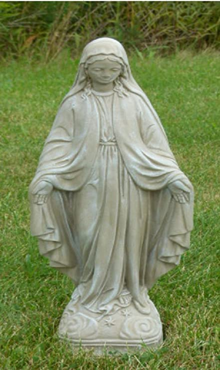 25u201d Saddle Stone Finish Virgin Mary Outdoor Patio Statue