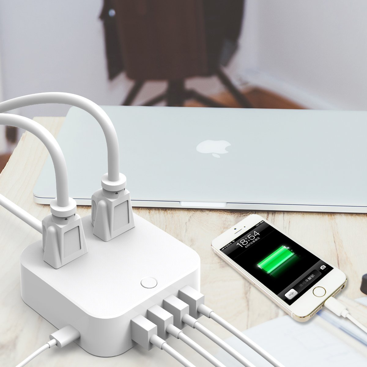 ❤ USB Extension Cord - Surge Protector Power Strip, Type-C Charging Port (5V/3A) & 4 USB Ports (5V/2.4A), Portable Travel Charger Station for iPhone iPad Samsung & Tablets, USB C Not for Laptops by HITRENDS (Image #7)